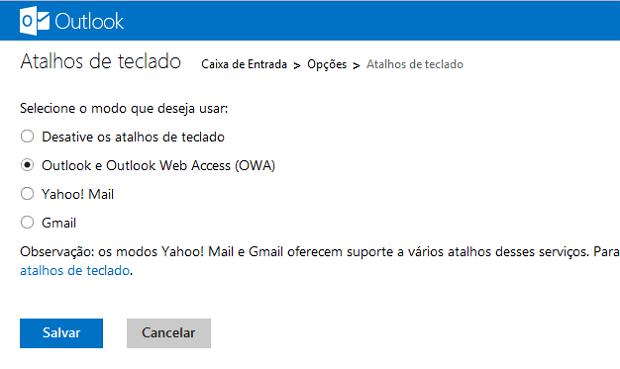 Opção para escolher um modo de atalho de teclado no Outlook.com (Foto: Reprodução/Marcela Vaz)