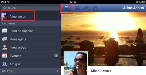 Acessando a linha do tempo de seu Facebook (Foto: Reprodução/Aline Jesus)
