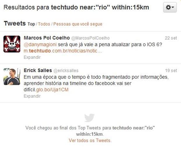 """Tweets com o termo """"TechTudo"""" postados no Rio ou em até 15km do local (Foto: Reprodução/ Raquel Freire)"""