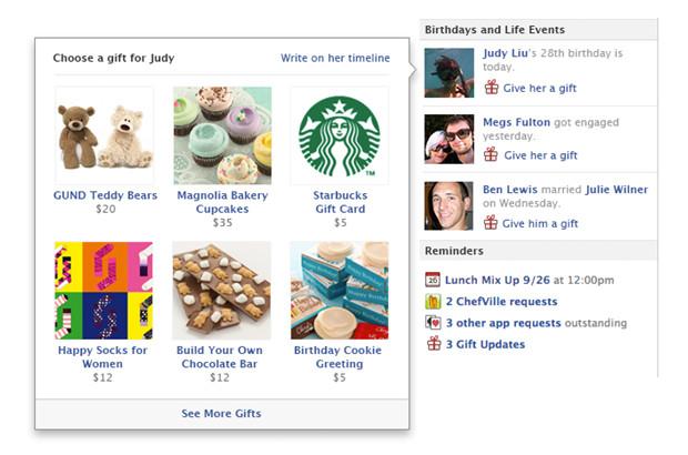 Facebook Gifts já está disponível nos EUA (Foto: Reprodução)