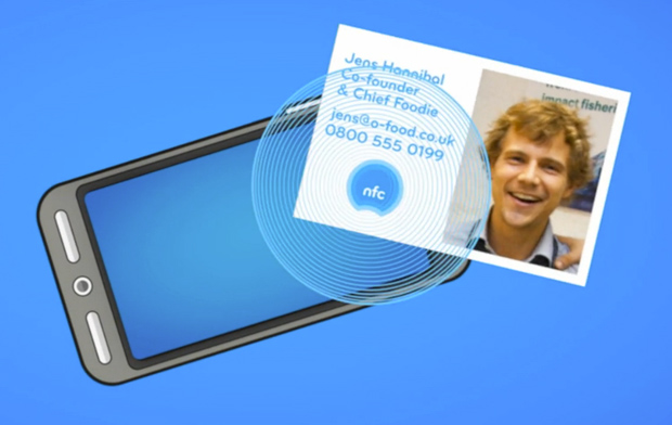 Exemplo de utilização do cartão de visitas com NFC