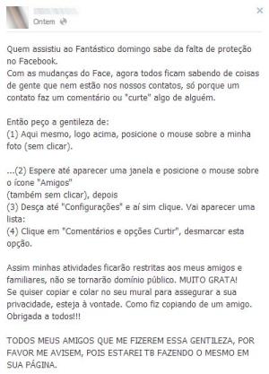 Mensagem falsa sobre privacidade circula no Facebook (Foto: Reprodução)