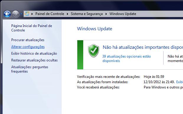 Windows Update (Foto: Reprodução/Helito Bijora)