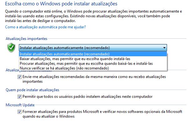 Configurações do Windows Update (Foto: Reprodução/Helito Bijora)