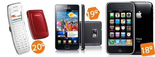 Nokia 2650, iPhone 3GS e Samsung Galaxy S II abrem a lista dos celulares mais famosos (Foto: Divulgação)