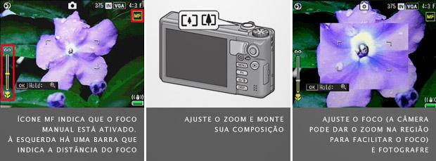 Tela de configuração do foco manual, à esquerda, botão de ajuste de zoom no meio, e assistente de foco manual à direita (Foto: Divulgação)
