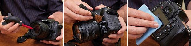 Imagem do processo de limpeza de uma câmera com borrifador de ar, pincel e flanela de microfibra (Foto: Reprodução/Digital Camera World)