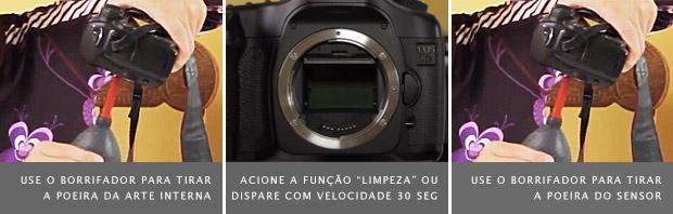 Parte interna da câmera sendo borrifada, à esquerda, obturador exposto, no meio, e câmera sendo borrifada novamente, à direita (Foto: Marlene Hielema)