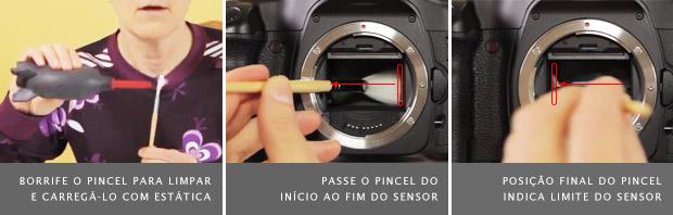 Pincel para limpeza de sensor sendo borrifado com ar, à esquerda, posição inicial para limpar, no meio, e final, à direita (Foto: Marlene Hielema)