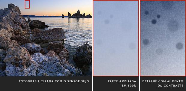 Fotografia de paisagem, à esquerda, detalhe ampliado, no meio, e detalhe com contraste aumentado, à direita (Foto: Reprodução/Cambridge in Colour)