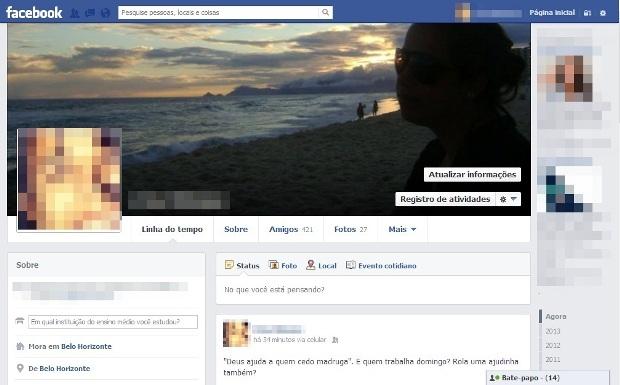Perfil do Facebook (Foto: Reprodução/Lívia Dâmaso)