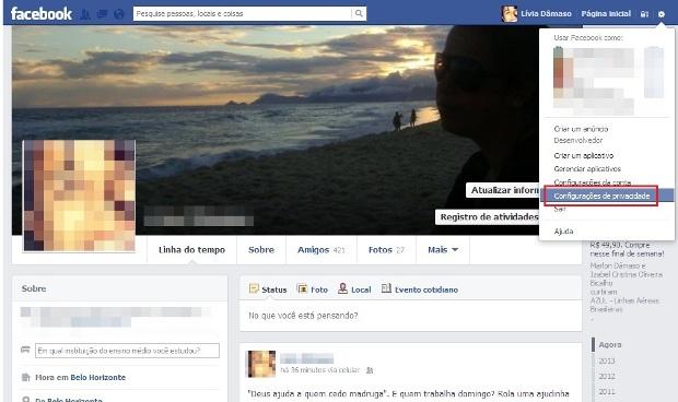 Atalho para Configurações do Facebook (Foto: Reprodução/Lívia Dâmaso)