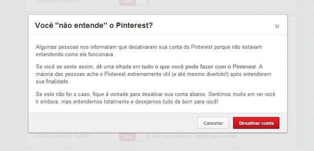 Primeira tela para desativar sua conta no Pinterest (Foto: Reprodução/Thiago Barros)