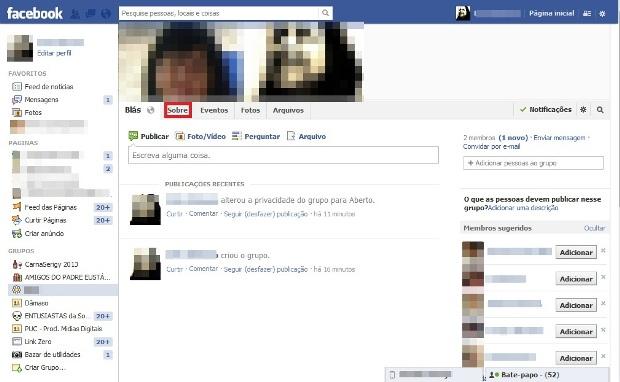 Grupo do Facebook (Foto: Reprodução/Lívia Dâmaso)