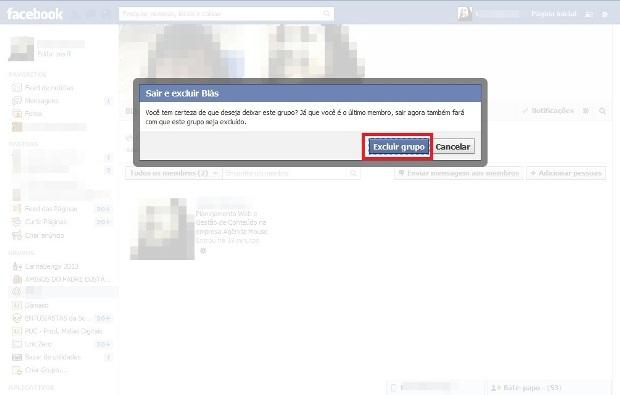 Mensagem para confirmar a exclusão do grupo do Facebook(Foto: Reprodução/ Lívia Dâmaso)