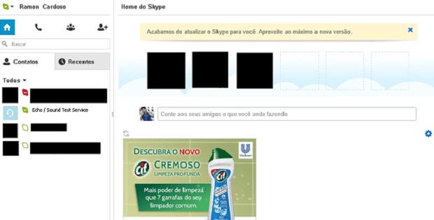 Exemplo de publicidade exibida no Skype (Foto: Reprodução/Ramon Barros)