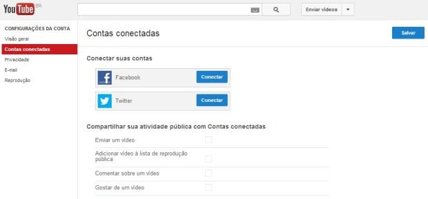 Integrando a sua conta no YouTube ao Facebook e Twitter (Foto: Reprodução/Carolina Ribeiro)