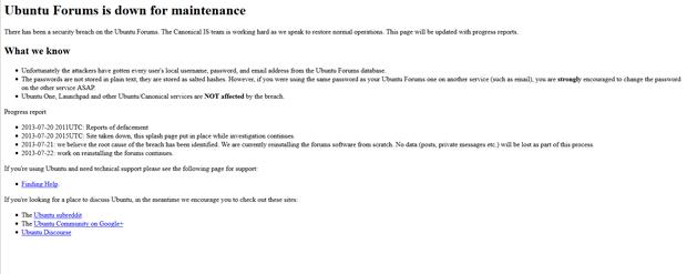 Mensagem exibida na página do Ubuntu Forum (Foto: Reprodução/Ubuntu Forums)