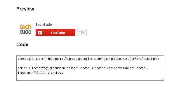 Como adicionar um botão de inscrição do YouTube no seu site ou blog (foto: Reprodução/João Kurtz)