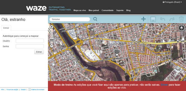 O primeiro passo é acessar o editor do Waze (Foto: Reprodução / Dario Coutinho)