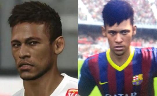 Neymar em suas versões para PES 2014 (esquerda) e Fifa 14 (direita) (Foto: Reprodução / TechTudo)