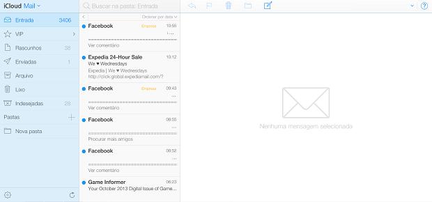App de e-mail tem visual com tons de azul (Foto: Reprodução/Thiago Barros)