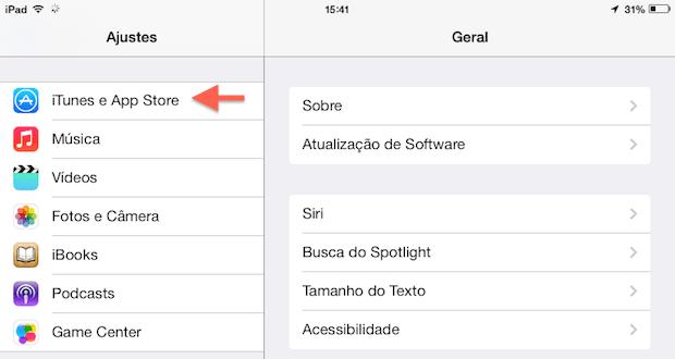 Configurações do iOS 7 em um iPad (Foto: Reprodução/Helito Bijora)