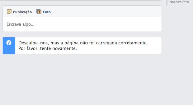 Facebook passa por problemas e não exibe página de perfil dos usuários (Foto: Reprodução/Facebook)