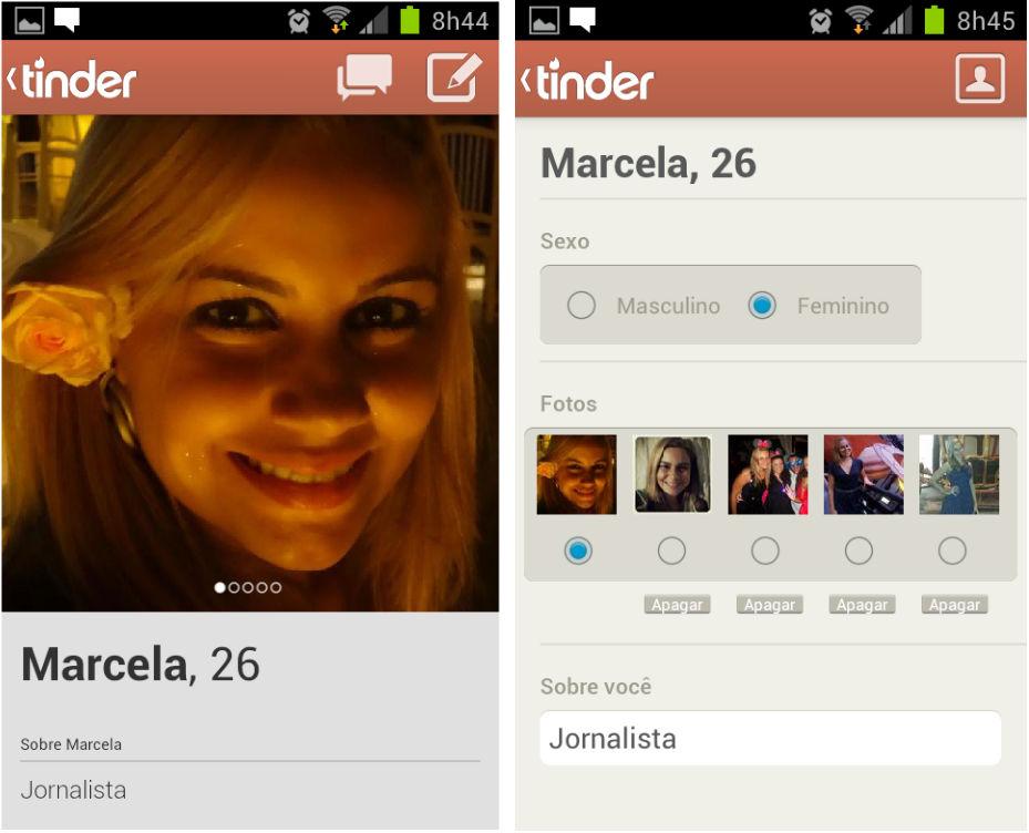 Configuração do perfil pessoal no Tinder (Foto: Reprodução/Marcela Vaz)