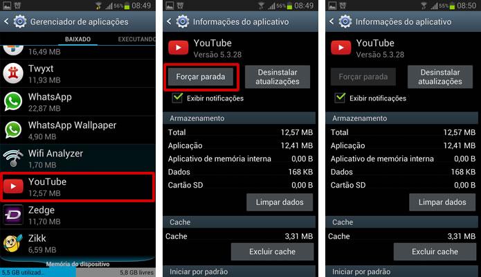 """Clique em """"Forçar parada"""" para encerrar as atividades do aplicativo em primeiro ou segundo plano (Foto: Reprodução/Daniel Ribeiro)"""