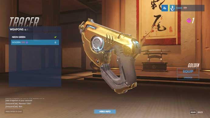 Novas skins de armas podem ser conferidas na versão de testes do Overwatch (Foto: Reprodução/Murilo Molina)