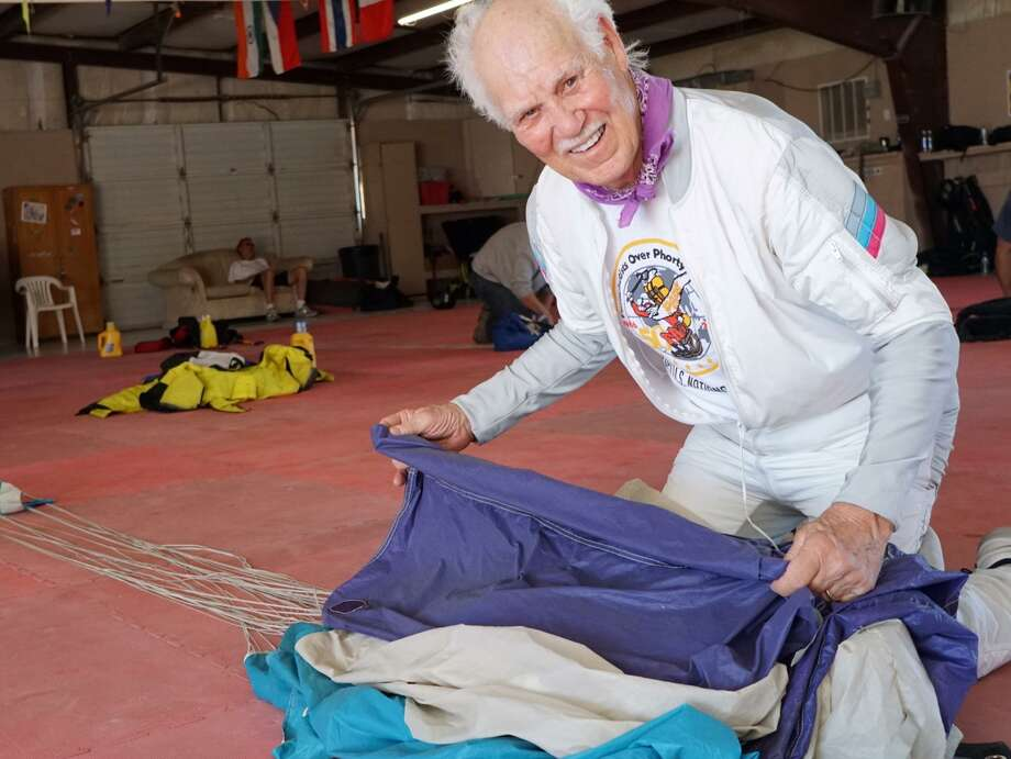 Pat Moorehead packs his parachute at a skydiving center in Arizona in 2017. Photo: Courtesy Pat & Alicia Moorehead / SFC