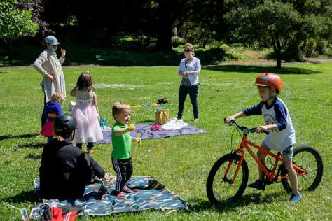 Friends and family socially distance as they party for Addie McLaughlin's sixth birthday Saturday at Golden Gate Park.