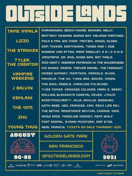 A festival poster for Outside Lands 2021. Photo: Outside Lands
