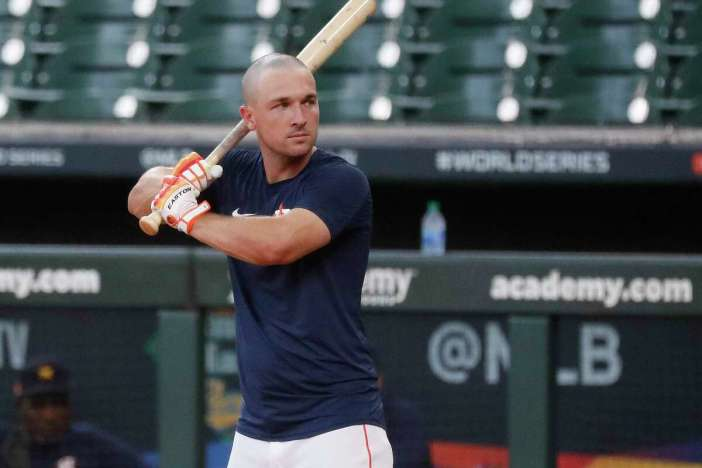Houston Astros third baseman Alex Bregman gets ready to take batting practice during the Astros summer camp at Minute Maid Park, Friday, July 10, 2020, in Houston.