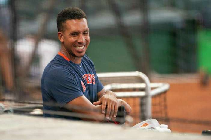 Houston Astros left fielder Michael Brantley (23) talks from the dugout during Astros summer training camp workout, Sunday, July 12, 2020, at Minute Maid Park in Houston.