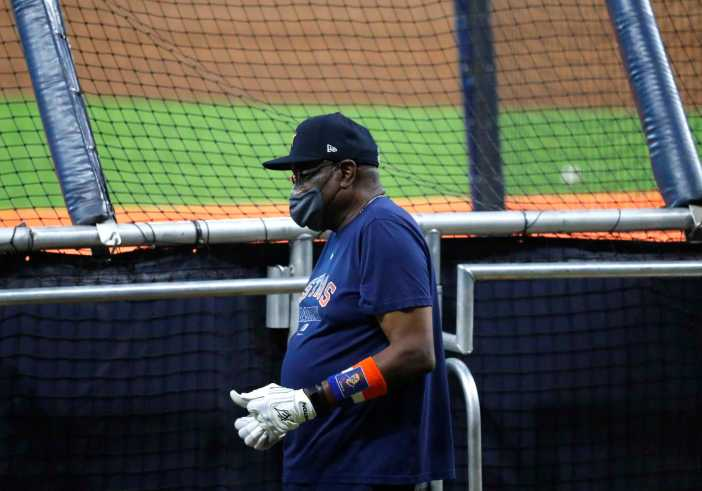 Houston Astros manager Dusty Baker during the Astros summer camp at Minute Maid Park, Thursday, July 16, 2020, in Houston.