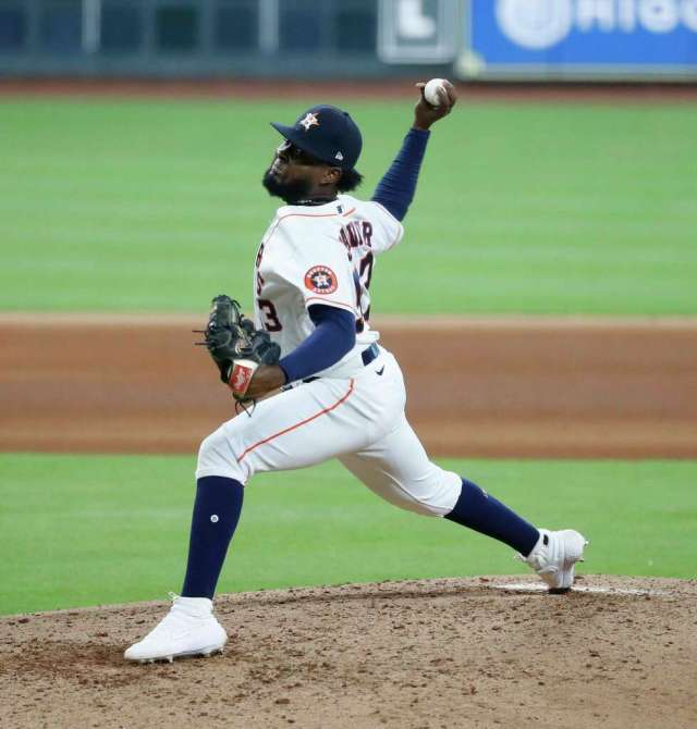 Houston Astros pitcher Cristian Javier pitches during the seventh inning of an MLB baseball game at Minute Maid Park, Saturday, July 25, 2020, in Houston.
