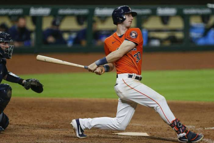 Houston Astros right fielder Kyle Tucker (30) grounds out to first base during the sixth inning of the MLB game against the Seattle Mariners at Minute Maid Park on Friday, Aug. 14, 2020, in Houston.