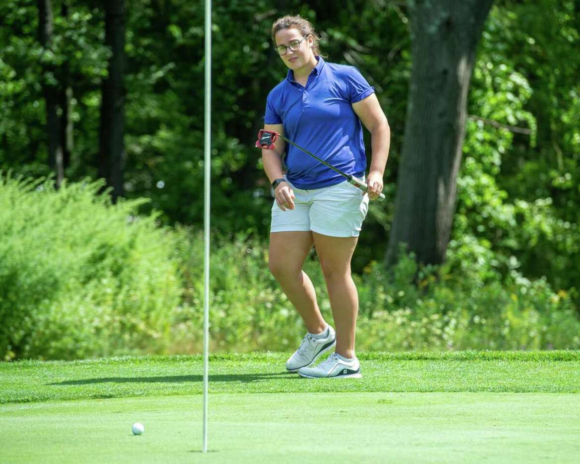 Megan Henry, a player on the UAlbany golf team, watches a putt during the CDPHP Pro-Am with Symetra Tour players at Capital Hills Golf Course in Albany, NY on Friday, August 28, 2020 (Jim Franco / special to the Times Unione. )