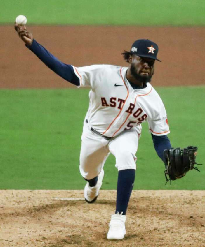 Houston Astros Cristian Javier pitches against the Tampa Bay Rays during the seventh inning of Game 4 of the American League Championship Series at Petco Park Wednesday, Oct. 14, 2020, in San Diego.