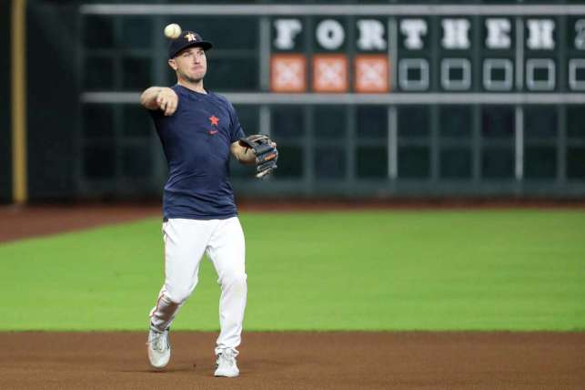 Alex Bragman, the third baseman of the Houston Astros, threw a ball against the Boston Red Sox during a game before Game 1 of the American League Championship Series in Houston on Thursday, October 14, 2021.