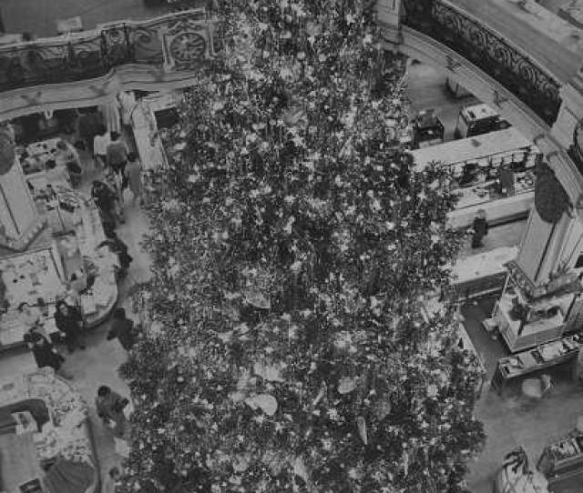 Christmas Tree In The City Of Paris Department Store In San Francisco November   The Tree Stood  Feet Tall And Was Decorated By Workers On