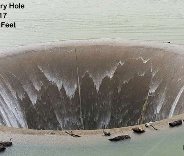 Lake Berryessa At Full Capacity With The Glory Hole Spilling Over On Feb 17
