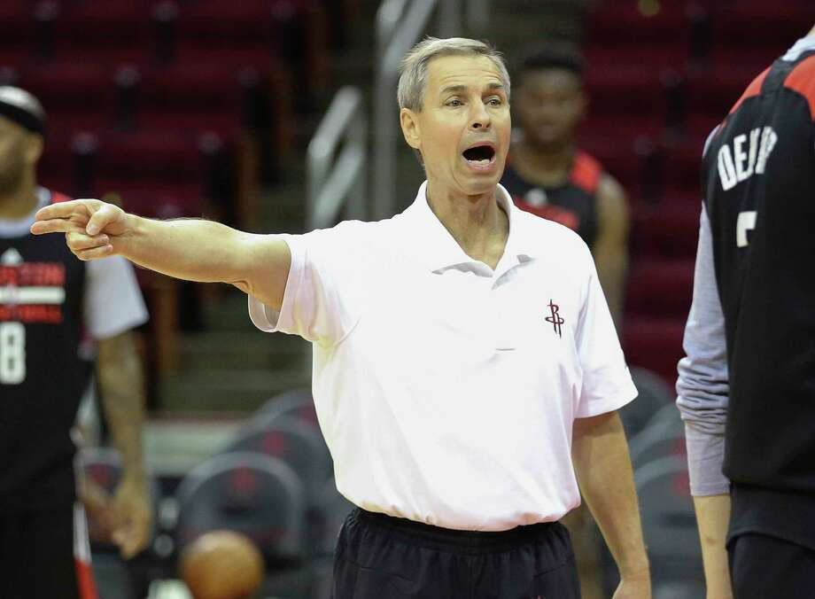 PHOTOS: A look at Rocket's head coach of the past Assistant coach Jeff Bzdelik of Houston Rockets gives instructions during training at the Toyota Center Friday, April 28, 2017 in Houston. (Yi-Chin Lee / Houston Chronicle)  >>> See every coach in the Rockets franchise history and how he worked ... Photo: Yi-Chin Lee, Staff / © 2017 Houston Chronicle