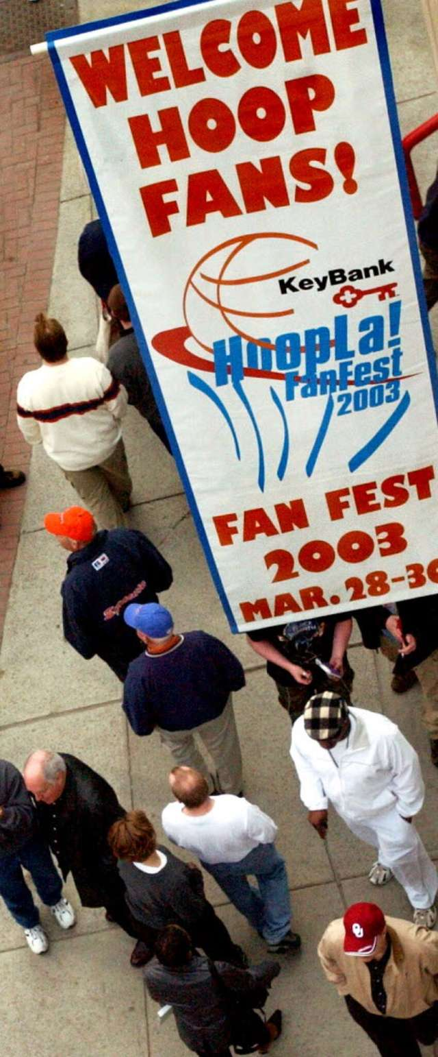 NCAA basketball fans turn out for the Fan Fest on Friday, March 28, 2003, outside the Pepsi Arena in Albany.