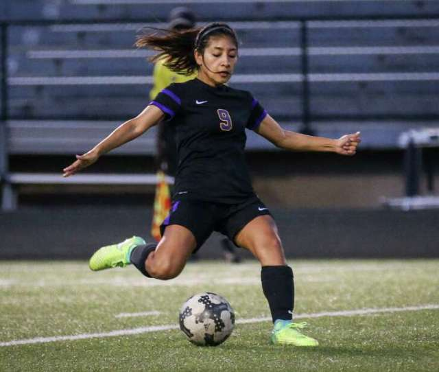 In This File Photo Montgomerys Alicia Morales 9 Kicks The Ball During The