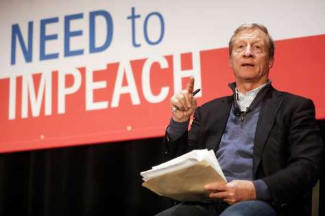 "Political activist Tom Steyer speaks during the ""Need to Impeach"" town hall event at the Clifton Cultural Arts Center, Friday, March 16, 2018, in Cincinnati. Steyer, a billionaire activist also involved in environmental causes, founded the ""Need to Impeach"" petition campaign on claims that President Donald Trump meets the criteria for impeachment. The event kicks-off a national tour in an effort to generate support. (AP Photo/John Minchillo) Photo: John Minchillo / Associated Press"