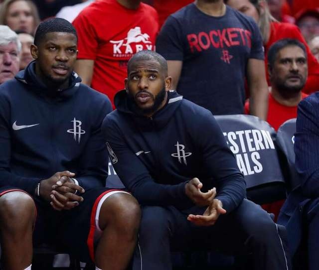 The Rockets Chris Paul Right Chatting With Joe Johnson Sat Out