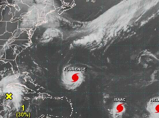 HD Decor Images » Satellite images show hurricanes lined up in Atlantic Ocean     This new satellite image taken on Monday afternoon shows Florence  Isaac   and Helene in